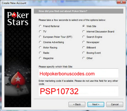 PokerStars Marketing Code February 2018